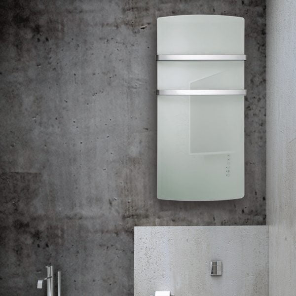 Radialight DEVA, Glass Fronted Bathroom Heater with Towel Rail